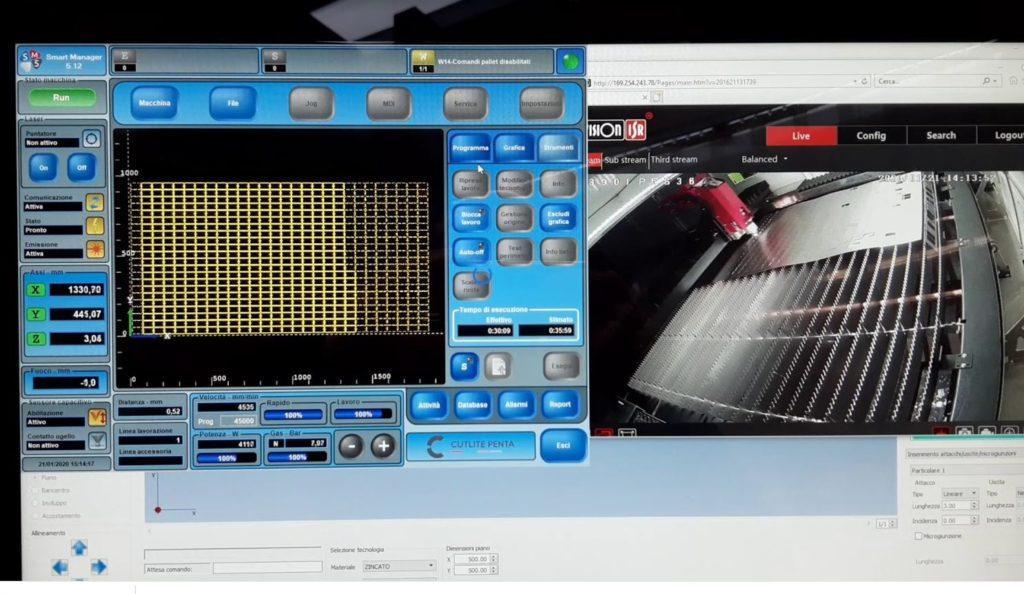Taglio laser fibra monitor e telecamera